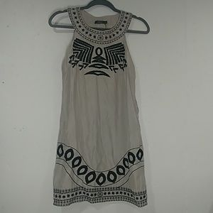 Silvery Gray Dress with Embroidered Print